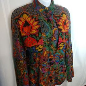 Gene Ewing Nehru button up top size 8